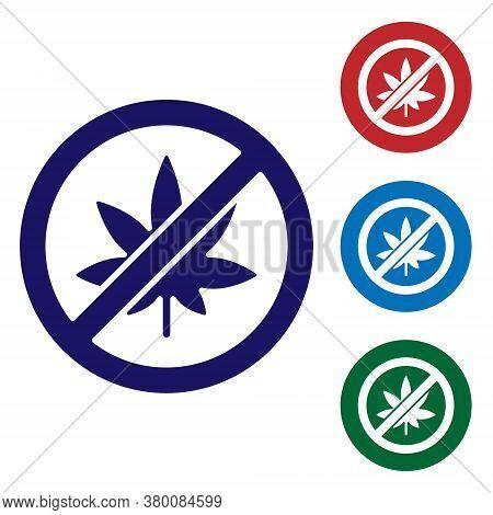 Blue Stop Marijuana Or Cannabis Leaf Icon Isolated On White Background. No Smoking Marijuana. Hemp S