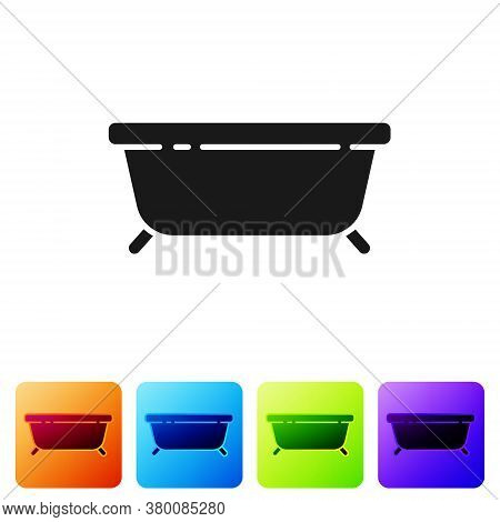 Black Bathtub Icon Isolated On White Background. Set Icons In Color Square Buttons. Vector Illustrat