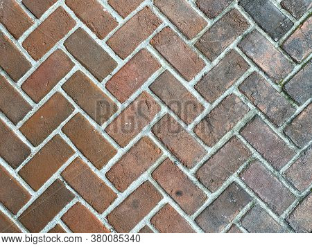 Red Clean Faded Dirty Retro Cobblestone Pattern Brick Pave, Rich Colors And Shadows Suitable For Web
