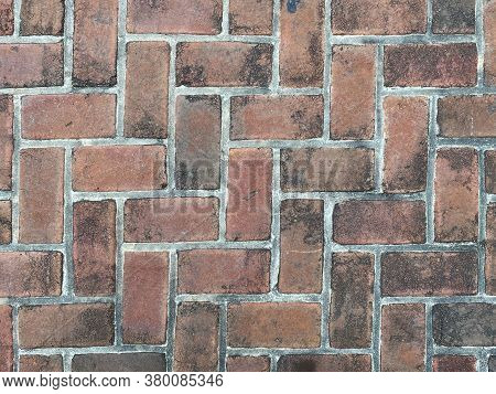 Red Dirty Retro Old Vintage Cobblestone Pattern Brick Pave, Rich Colors And Shadows Suitable For Web