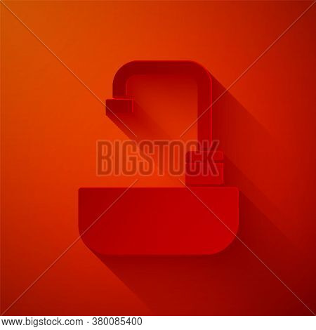 Paper Cut Washbasin With Water Tap Icon Isolated On Red Background. Paper Art Style. Vector Illustra