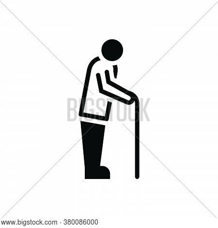 Black Solid Icon For Retirement Superannuation Old-age Wealth Pension Rising Senior Citizen