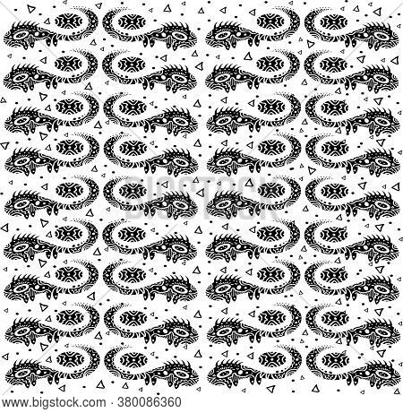 Oriental Ornament Black-white Lizard Pattern. Monochrome Tribal Tattoo With Dots And Triangles Vecto