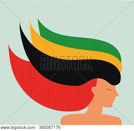 Unusial Colorful Hairstyle Pretty Girl Model. Longhaired Elegant Woman's Profile. Female Silhouette