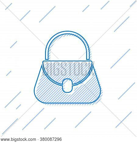 Blue Line Handbag Icon Isolated On White Background. Female Handbag Sign. Glamour Casual Baggage Sym