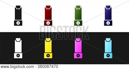 Set Inhaler Icon Isolated On Black And White Background. Breather For Cough Relief, Inhalation, Alle