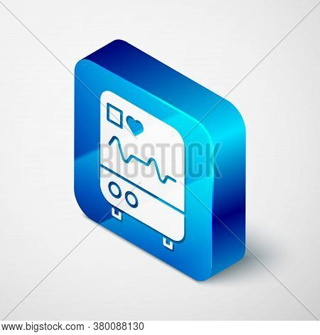 Isometric Computer Monitor With Cardiogram Icon Isolated On Grey Background. Monitoring Icon. Ecg Mo