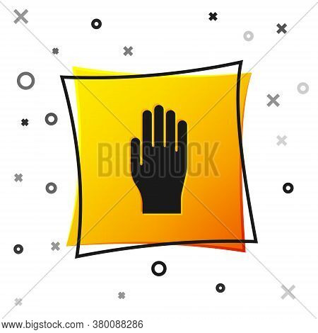 Black Medical Rubber Gloves Icon Isolated On White Background. Protective Rubber Gloves. Yellow Squa