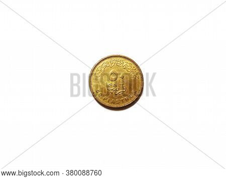 Egyptian Coin Of 50 Piastres, Made Of Copper, Lies On A White Background, Obverse