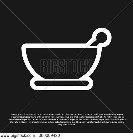 Black Mortar And Pestle Icon Isolated On Black Background. Vector Illustration