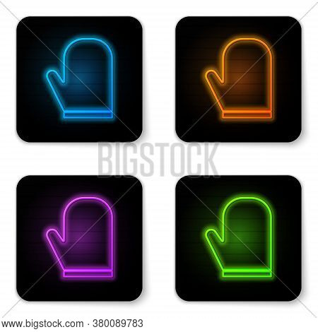 Glowing Neon Oven Glove Icon Isolated On White Background. Kitchen Potholder Sign. Cooking Glove. Bl