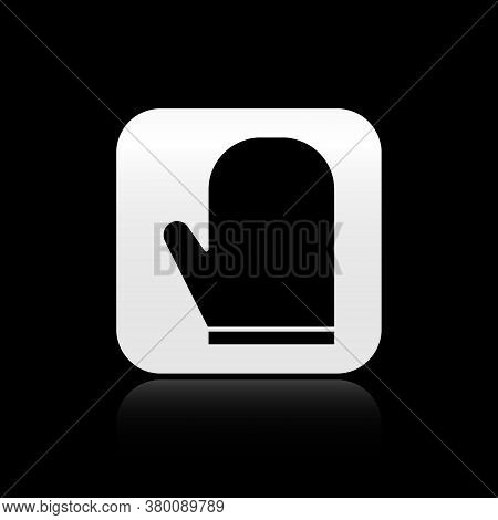 Black Oven Glove Icon Isolated On Black Background. Kitchen Potholder Sign. Cooking Glove. Silver Sq