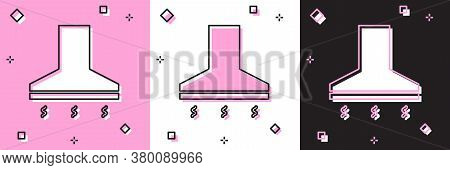 Set Kitchen Extractor Fan Icon Isolated On Pink And White, Black Background. Cooker Hood. Kitchen Ex