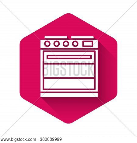 White Oven Icon Isolated With Long Shadow. Stove Gas Oven Sign. Pink Hexagon Button. Vector Illustra