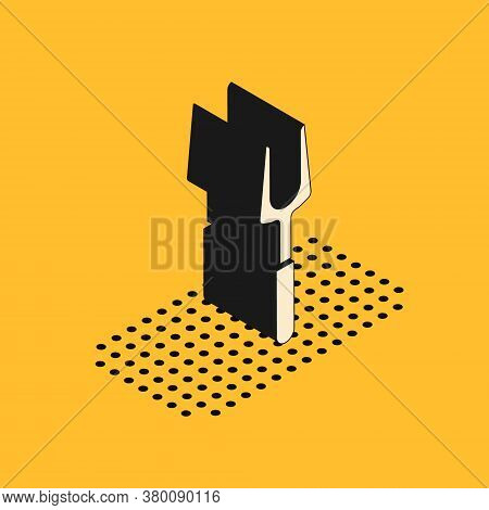 Isometric Barbecue Fork Icon Isolated On Yellow Background. Bbq Fork Sign. Barbecue And Grill Tool.