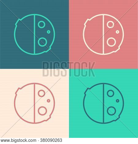 Pop Art Line Eclipse Of The Sun Icon Isolated On Color Background. Total Sonar Eclipse. Vector Illus