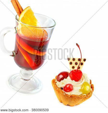 Mulled Wine And Shortcake Isolated On White Background.christmas Treat.