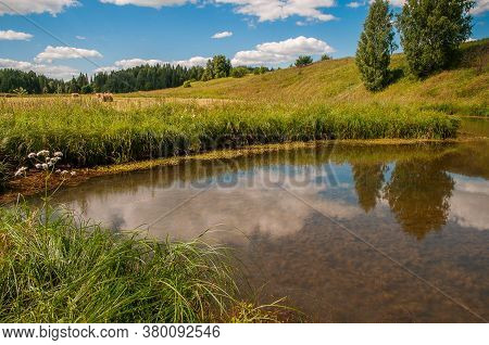 A Small Pond Near The Hill, Trees. Clouds, Trees Reflected In The Pond, Sunny Day