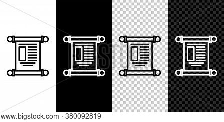 Set Line Decree, Paper, Parchment, Scroll Icon Icon Isolated On Black And White Background. Chinese