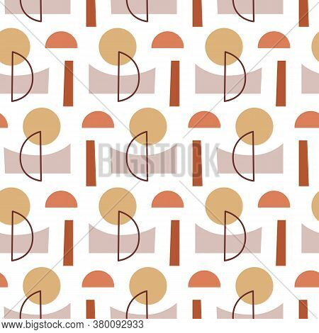 Abstract Geometric Modern Seamless Pattern. Mid Century 1950s Style Background