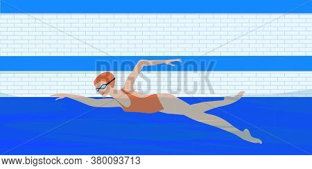 Swimmer Woman In Glasses In The Pool - Butterfly Style - Vector. Water Sport. Interior