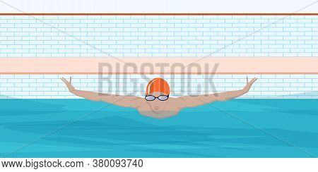 Swimmer In The Pool - Butterfly Style - Vector. Water Sport. Interior