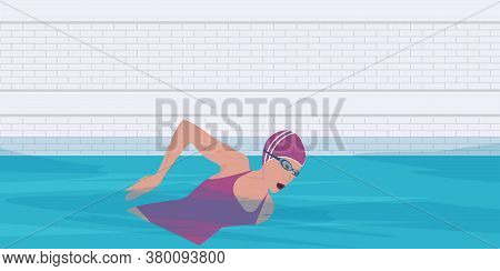 Swimmer With Goggles In The Pool - Butterfly Style - Vector. Water Sport. Interior