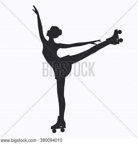 Roller Skating Girl - Isolated On White Background - Vector.