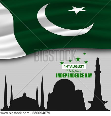Vector Illustration Of Pakistan Independence Day 14th August. Waving Fabric Of Pakistan Flag, Minima