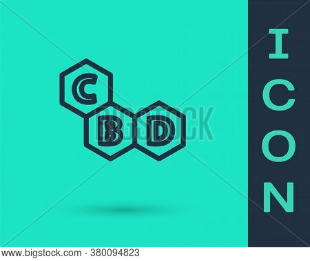 Black Line Cannabis Molecule Icon Isolated On Green Background. Cannabidiol Molecular Structures, Th