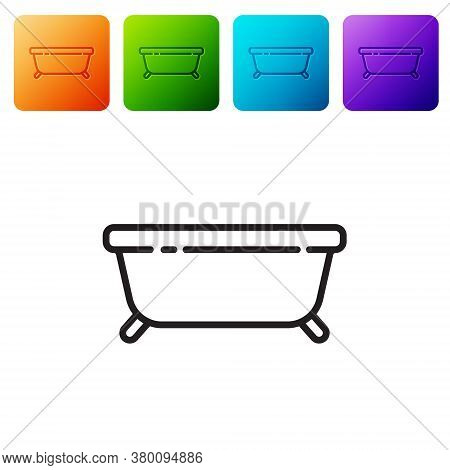 Black Line Bathtub Icon Isolated On White Background. Set Icons In Color Square Buttons. Vector Illu
