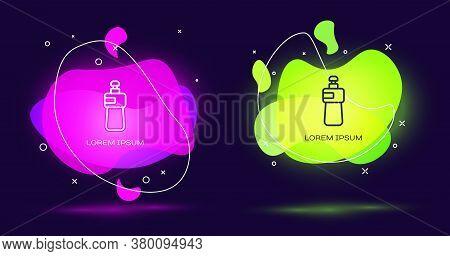 Line Dishwashing Liquid Bottle Icon Isolated On Black Background. Liquid Detergent For Washing Dishe