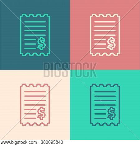 Pop Art Line Paper Check And Financial Check Icon Isolated On Color Background. Paper Print Check, S