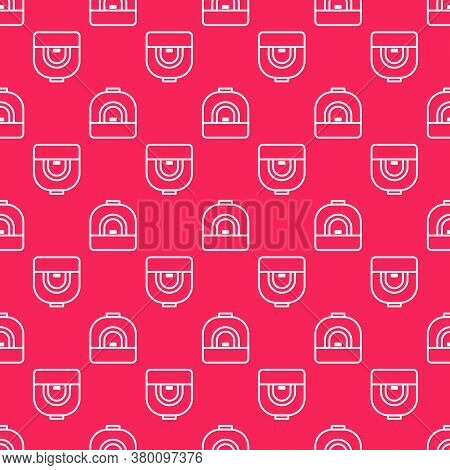 White Line Oven Icon Isolated Seamless Pattern On Red Background. Stove Gas Oven Sign. Vector Illust
