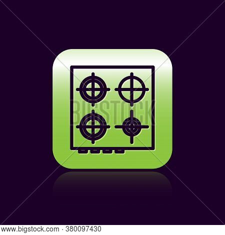 Black Line Gas Stove Icon Isolated On Black Background. Cooktop Sign. Hob With Four Circle Burners.