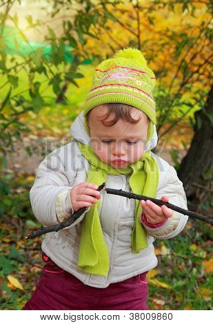 Fun Baby Looking On Branch Holding In Hands Outdoors Autumn Background