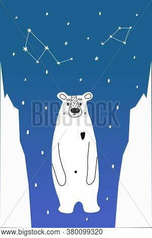 An Adult Polar Bear Between Ice Floes At The North Pole And A Blue Sky With Constellations. Vector I