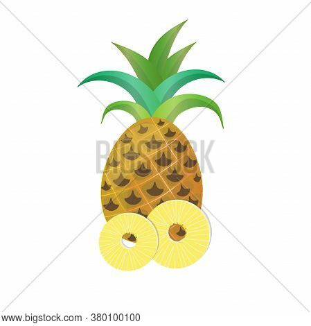 Whole Pineapple With Ring Slices Isolated On White Background.