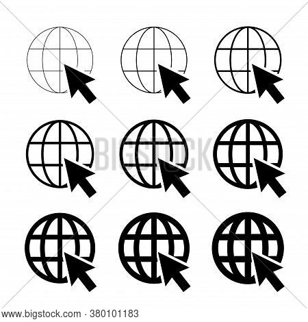 Www World Wide Web Set Site Symbol, Internet Collection Icon, Website Address Globe, Flat Outline Si
