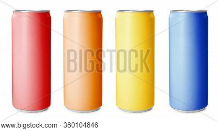 Set With Aluminium Drink Cans In Different Colors On White Background. Banner Design