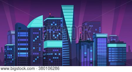 Cartoon Night City. Skyline Landscape With Megapolis Buildings And Neon Lights, Futuristic Violet Sk