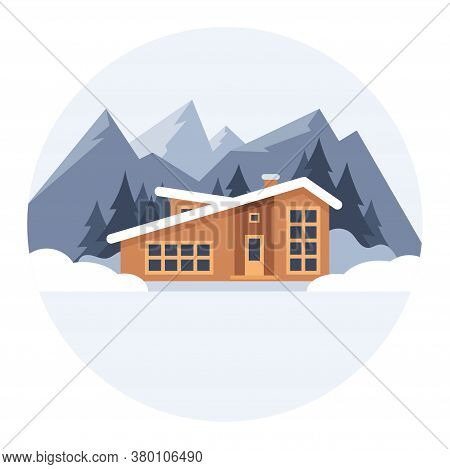 Winter Mountain Landscape With Big House For Tourists. Winter Holidays In The Mountains, Ski Resorts