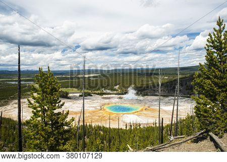 View of Grand Prismatic Spring from above. Yellowstone National Park, Wyoming, USA