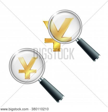 Golden Yuan Currency Sign With Magnifying Glass.