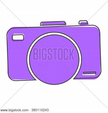 Vector Illustration Of A Digital Camera. Retro Camera Icon Cartoon Style On White Isolated Backgroun
