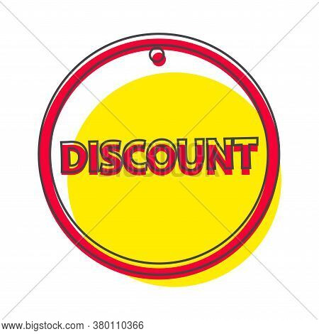 Vector Label Discount Cartoon Style On White Isolated Background.