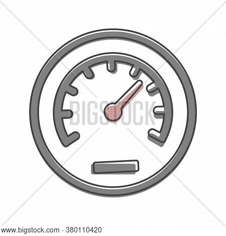 Vector Icon Speedometer. Flat Image Speedometer Cartoon Style On White Isolated Background.