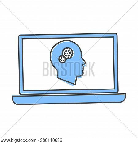 Online Training Icon. Remote Web Training. Symbol Of Online Learning, Webinar Cartoon Style On White