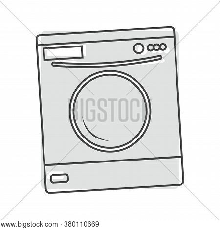 Vector Icon Washing Machine On Gray Background. Flat Image Home Appliance Cartoon Style On White Iso