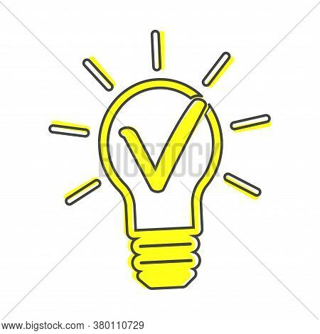 Light Bulb And Green Checkmark Vector Icon. The Symbol Of The Origin Of The Idea Cartoon Style On Wh